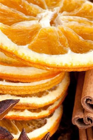 iPhone Wallpaper Dry food, lemons slices, spices, cinnamon