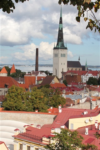 iPhone Wallpaper Estonia, Tallinn, city, houses, river