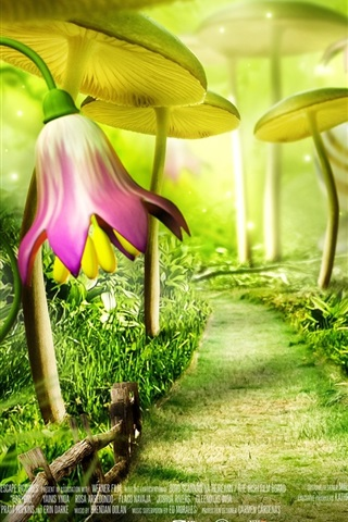 iPhone Wallpaper Fairytale forest, flowers, cartoon movie