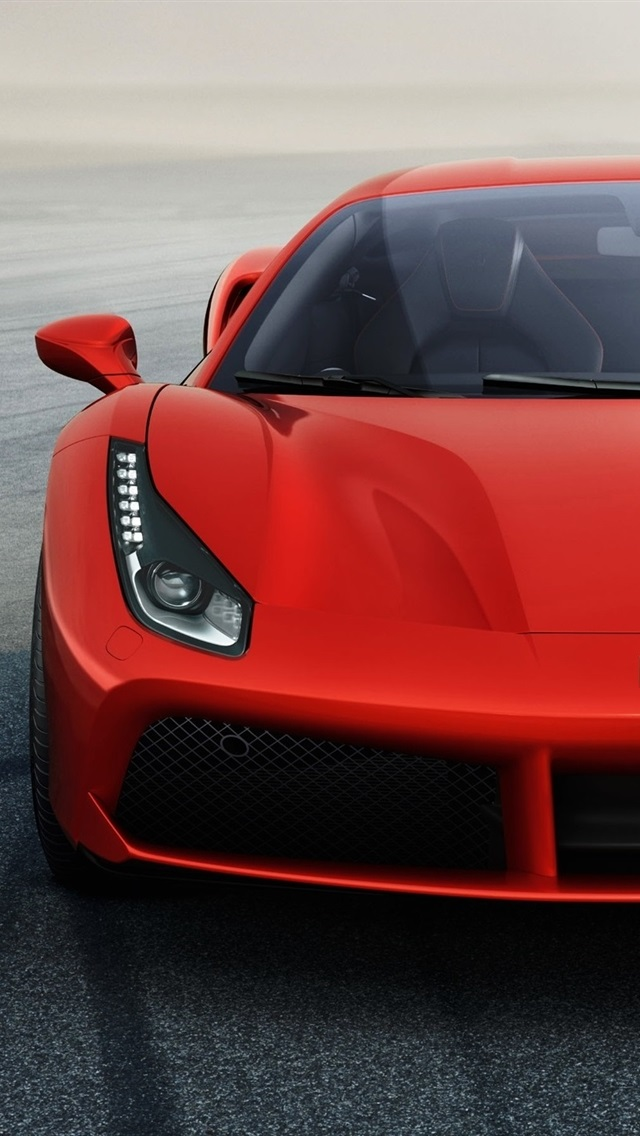 Ferrari 488 Gtb Red Supercar Front View 750x1334 Iphone 8 7 6 6s Wallpaper Background Picture Image