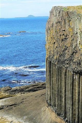 iPhone Wallpaper Fingal's Cave, cliff, sea