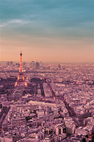 France Paris City Night Eiffel Tower Street Lights