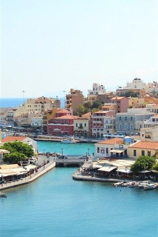 iPhone Wallpaper Greece, bay, houses