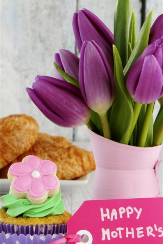 iPhone Wallpaper Happy Mother's Day, croissant, cake, tulip flowers