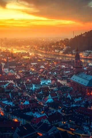 iPhone Wallpaper Heidelberg castle, Germany, beautiful city night, houses, river, lights, sunset