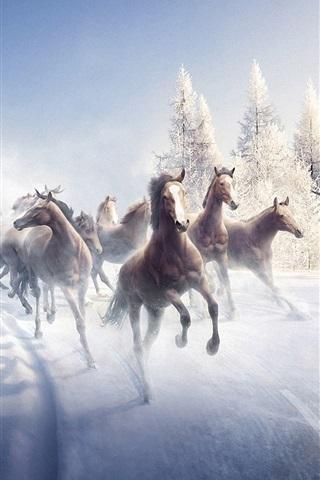 iPhone Wallpaper Horses in winter running