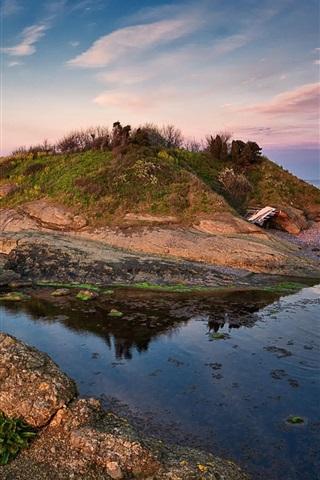 iPhone Hintergrundbilder Insel, Meer, Küste, Sonnenuntergang, Wolken