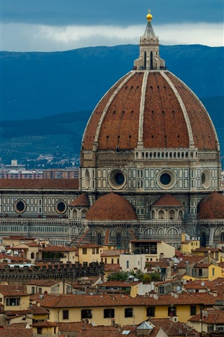 iPhone Wallpaper Italy, Florence, cathedral, houses, dusk