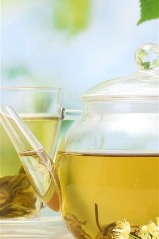 iPhone Wallpaper Jasmine tea, teapot, saucer, cup, drink, flowers