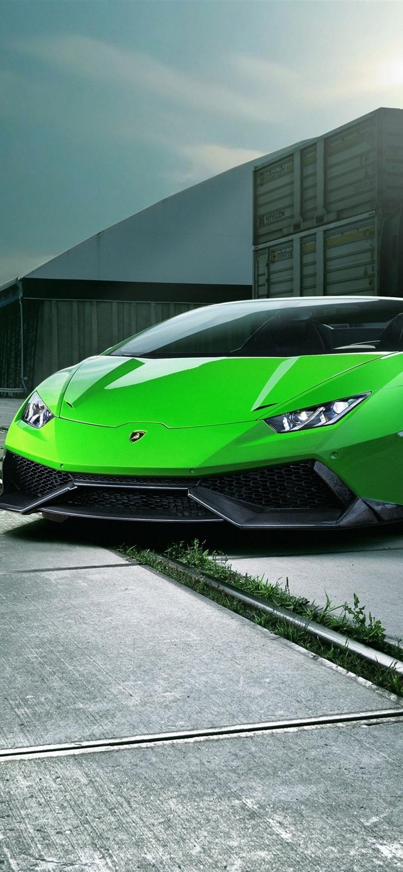Lamborghini Huracan Spyder Green Supercar Front View Night City