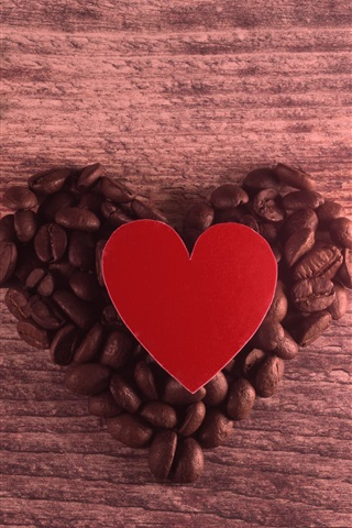 iPhone Wallpaper Love heart, coffee beans, romantic