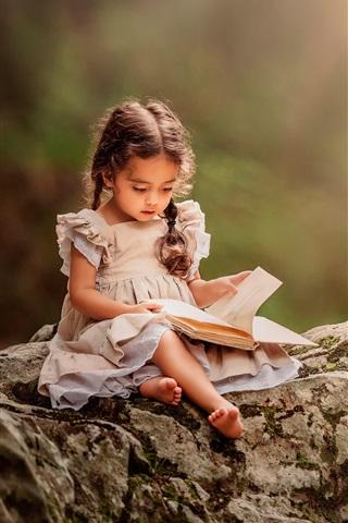 iPhone Papéis de Parede Adorável livro de leitura da menina