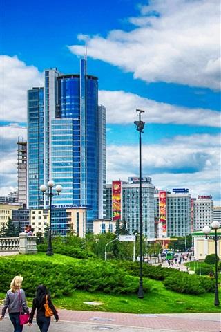iPhone Wallpaper Minsk, Belarus, city, houses, clouds
