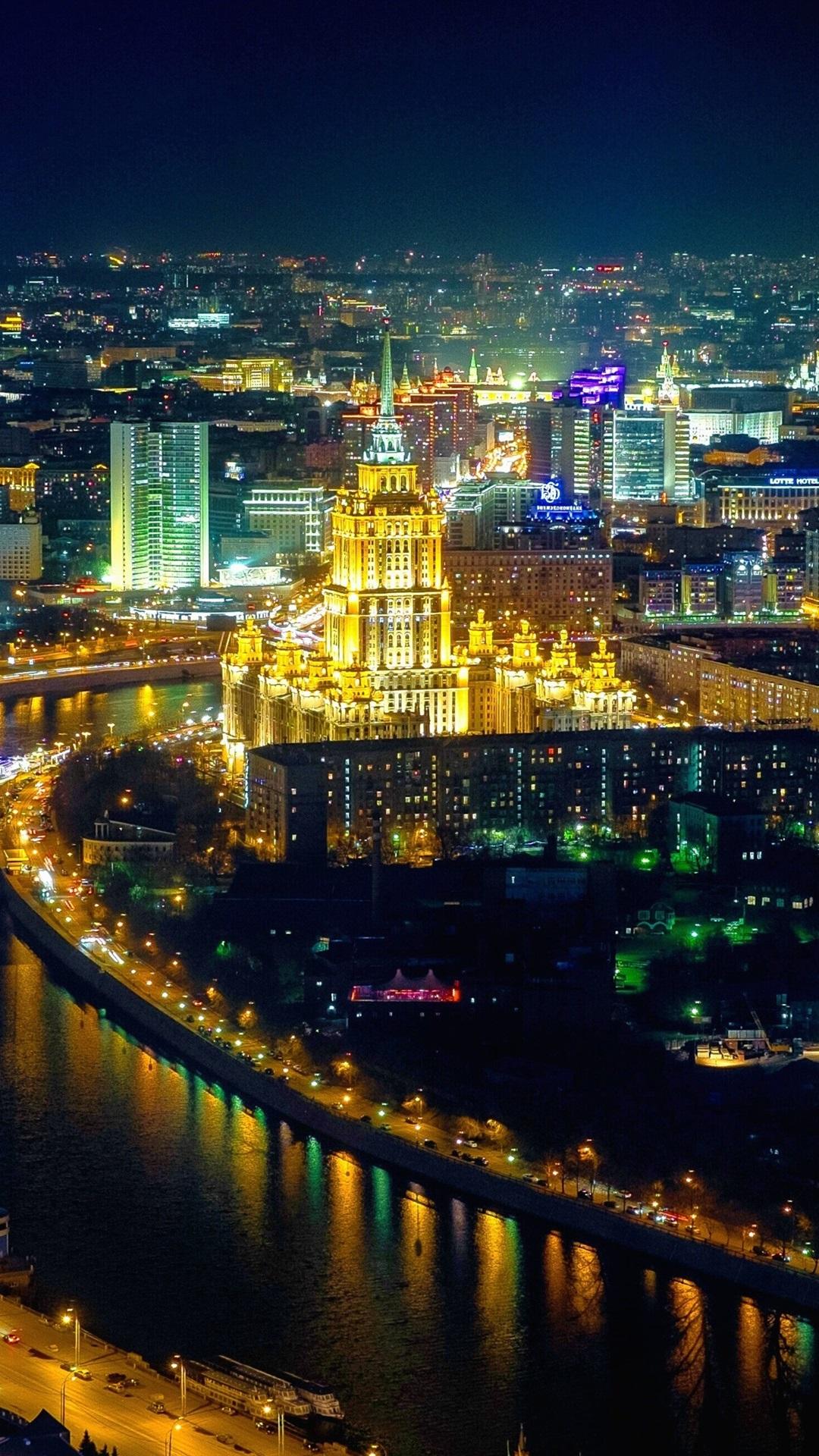 Moscow City Night Houses Illumination 1080x1920 Iphone 87