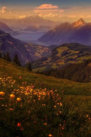 iPhone Wallpaper Mountains, grass, sky, dusk, clouds