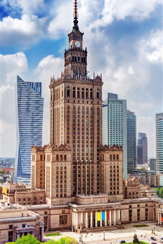 iPhone Wallpaper Poland, Warsaw, city, Palace of science, skyscrapers, clouds