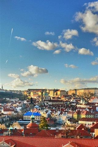 iPhone Wallpaper Prague, Czech Republic, city, buildings, houses, clouds