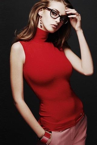 iPhone Wallpaper Red dress girl, glasses, black background