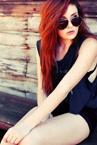 iPhone Wallpaper Red hair fashion girl sit at chair