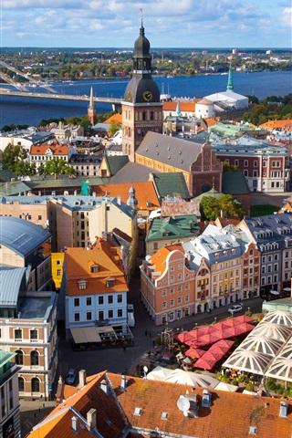 iPhone Wallpaper Riga, Latvia, city, houses, bridge, street, river