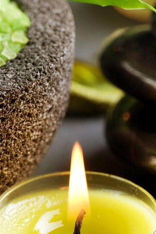 iPhone Wallpaper SPA themed, candle, flame, stones, bowl, green crystals