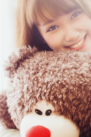 iPhone Wallpaper Smile Asian girl and teddy bear
