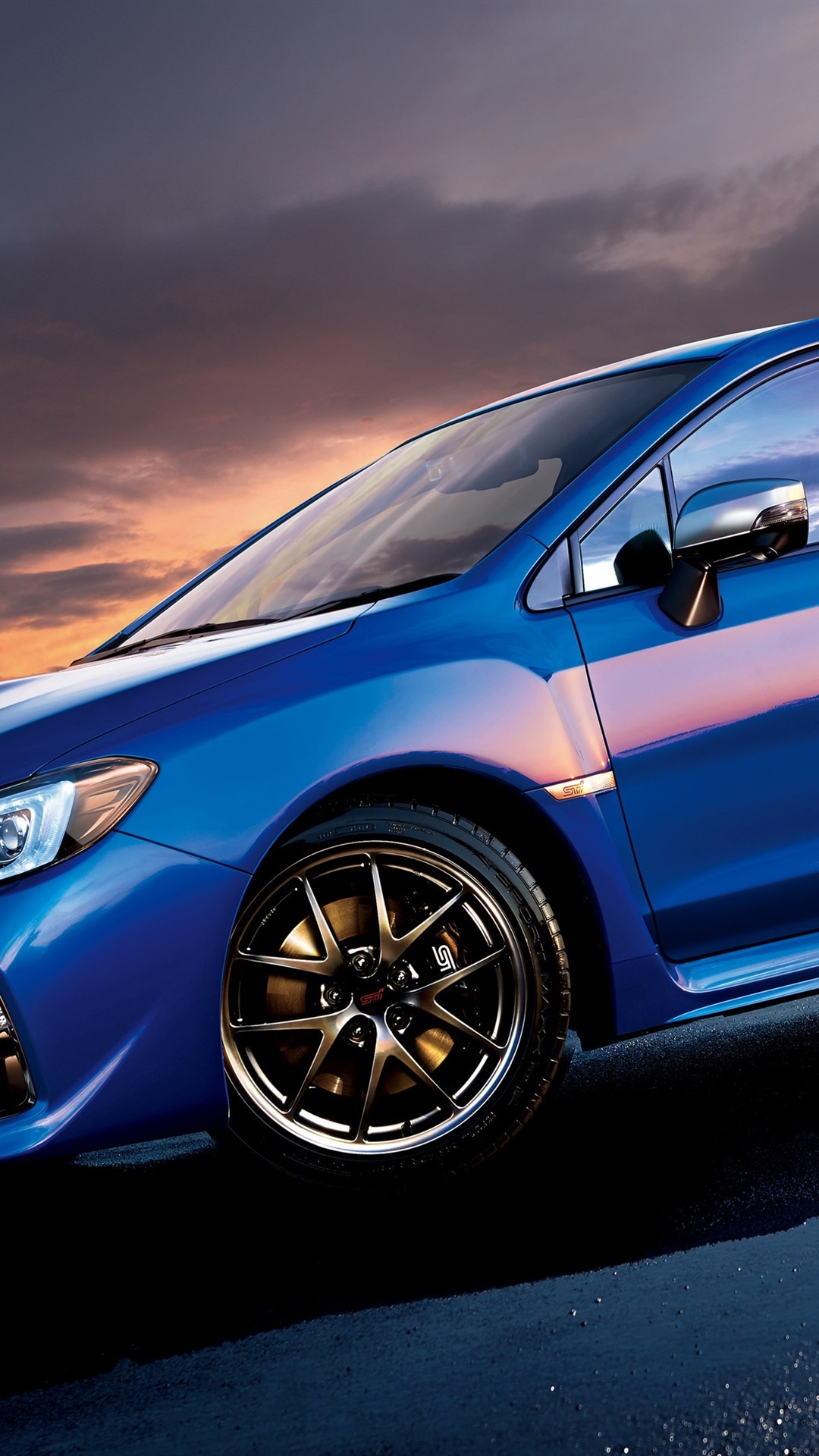 Subaru Sti Wrx Blue Car Side View 1080x1920 Iphone 8 7 6 6s