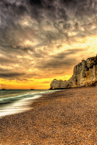 iPhone Wallpaper Sunset, beach, coast, sea, dusk, clouds, sands, HDR style