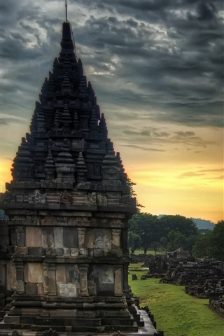 iPhone Wallpaper Travel to India, temple, stones, dusk