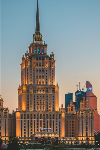 iPhone Wallpaper Ukraine, city night, hotel, lights