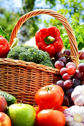 iPhone Wallpaper Vegetables and fruits photography, apples, tomatoes, cucumber, grapes, garlic