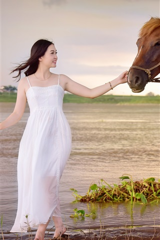 iPhone Wallpaper White dress Asian girl and horse