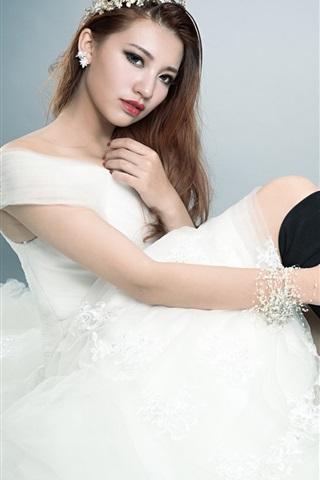 iPhone Wallpaper White dress Asian girl pose