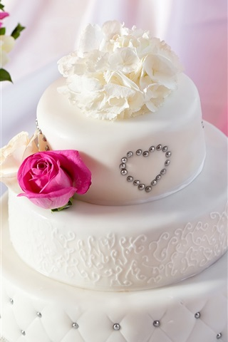 iPhone Wallpaper White style cake, bouquet rose flowers