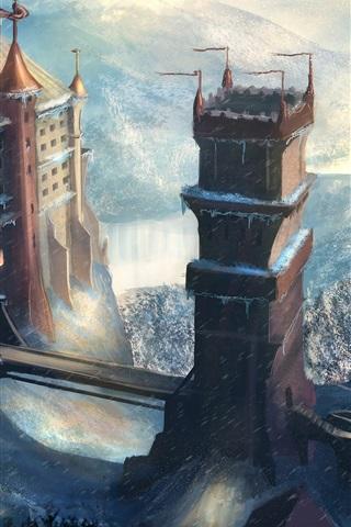 iPhone Wallpaper Art drawing, castle, winter, snow