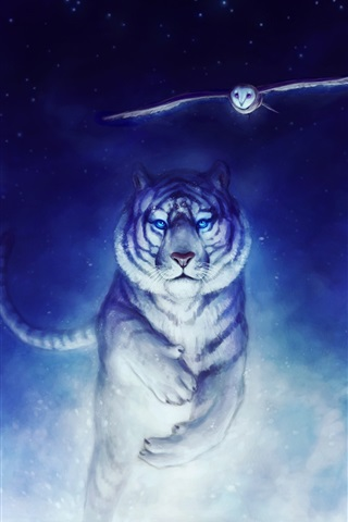 iPhone Wallpaper Art drawing, white tiger running, owl flying, snow