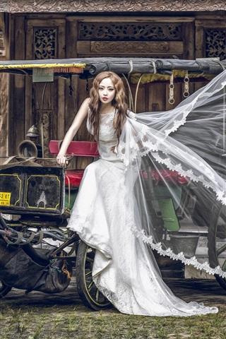 iPhone Wallpaper Asian girl, bride, wagon, horse