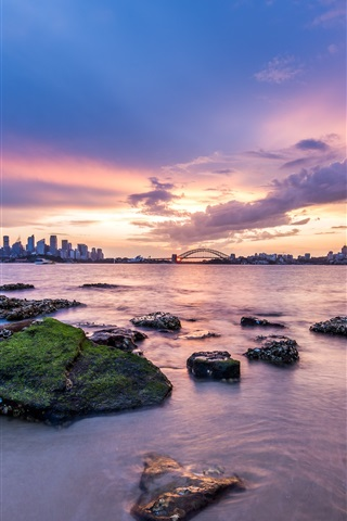 iPhone Wallpaper Australia capital, Sydney, city, dawn, coast, sunrise, clouds