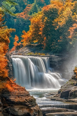 iPhone Wallpaper Autumn, trees, waterfall, stones