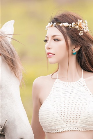 iPhone Wallpaper Beautiful Asian girl and white horse