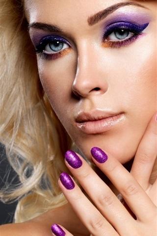 iPhone Wallpaper Blonde girl, makeup, hands, nail polish