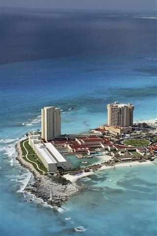 iPhone Wallpaper Cancun, Mexico, city, beach, coast, sea, island