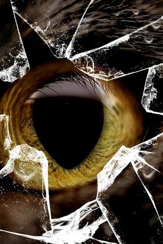 iPhone Papéis de Parede Gato olho amarelo, vidro quebrado