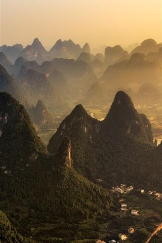 iPhone Wallpaper China, mountains, village, fog, morning, Guilin natural landscape
