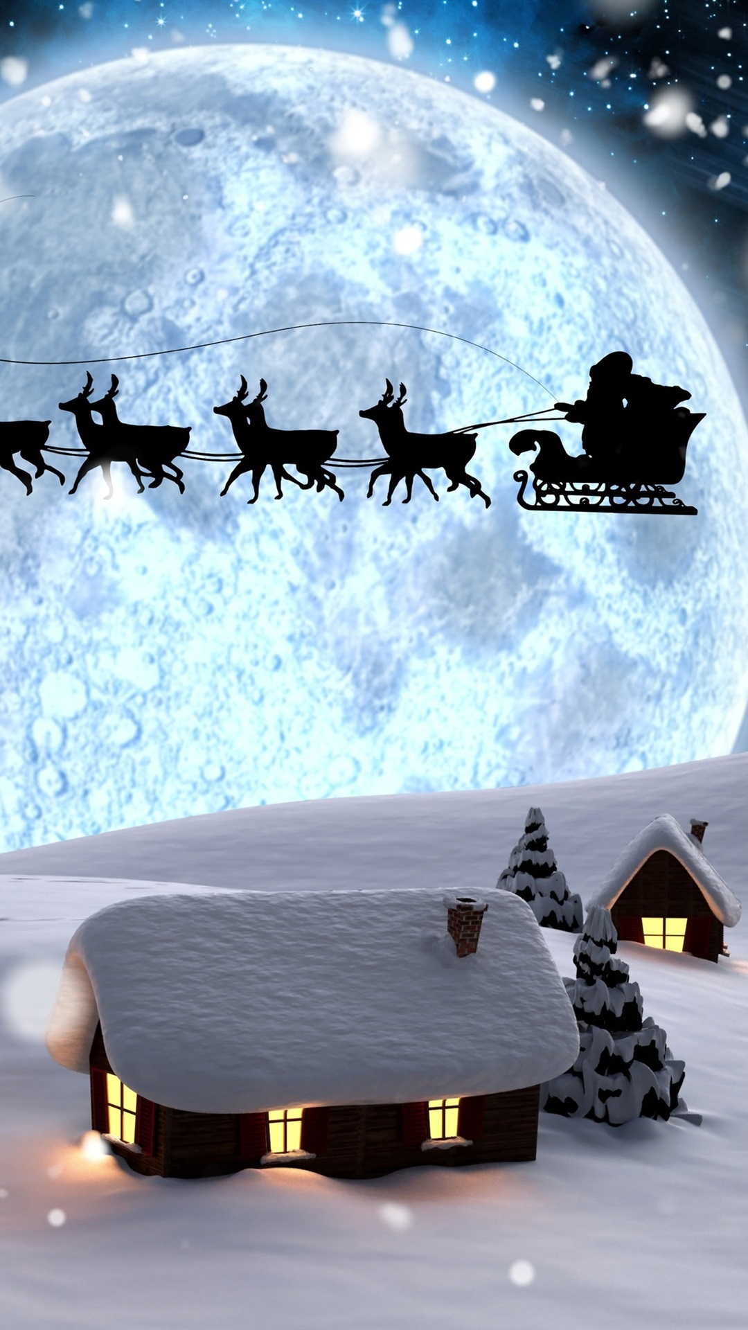 Christmas Creative Design Santa Claus Deer Night Moon