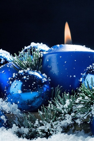iPhone Wallpaper Christmas decoration, candles, balls, snow, blue style