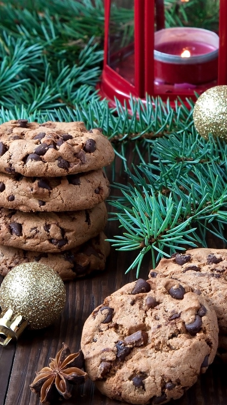 Christmas Food Chocolate Cookies Tree Branches Balls