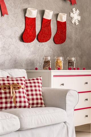 iPhone Wallpaper Christmas home decoration, sofa, socks, cookies, Christmas tree, holiday lights