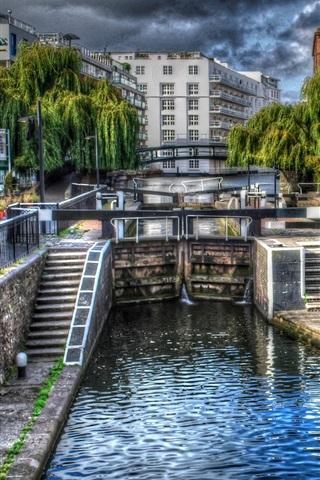 iPhone Wallpaper City, bridge, river, street, houses, clouds, London, UK