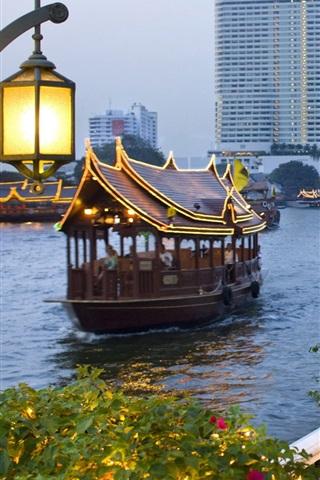iPhone Wallpaper City, dusk, boats, river, shore, street, people, Bangkok, Thailand